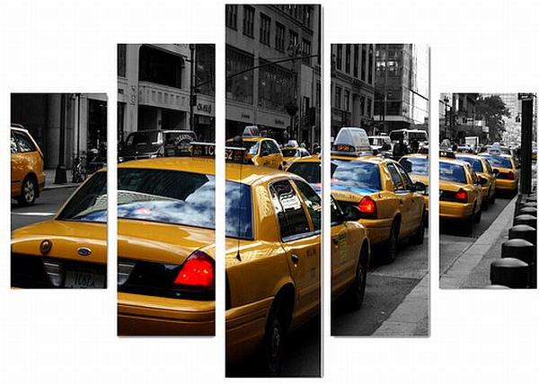 new york taxi wandbild 5 teilig 77 cm canvas druck neu ebay. Black Bedroom Furniture Sets. Home Design Ideas