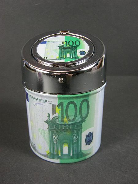 taschen aschenbecher ashtray 100 euro geldschein metall mit klappdeckel ebay. Black Bedroom Furniture Sets. Home Design Ideas