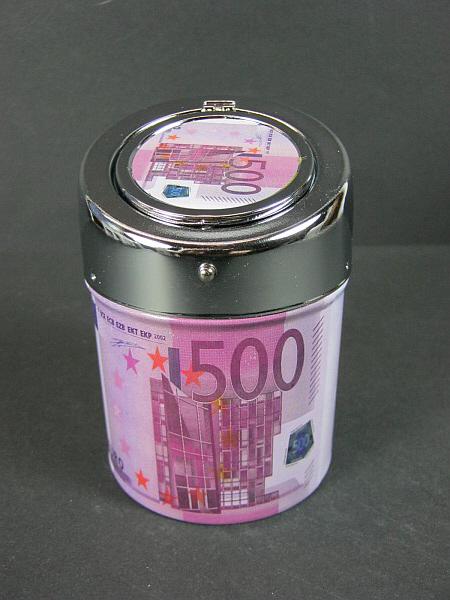taschen aschenbecher ashtray 500 euro geldschein metall mit klappdeckel ebay. Black Bedroom Furniture Sets. Home Design Ideas