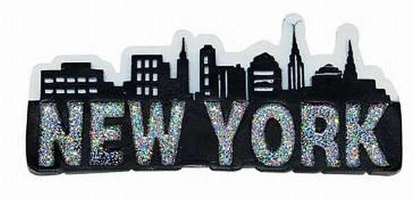 new york city magnet skyline manhattan schriftzug 3d poly glitter souvenir ebay. Black Bedroom Furniture Sets. Home Design Ideas