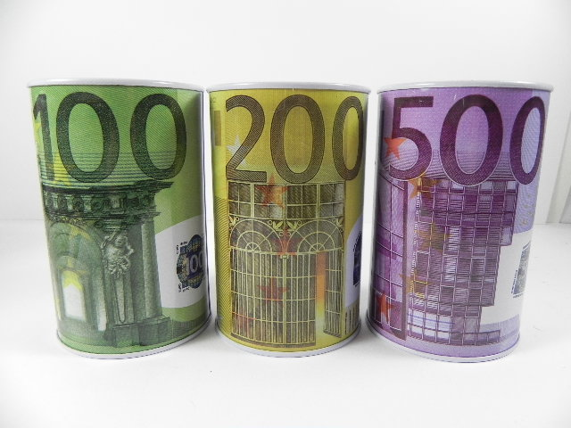 spardose 100 200 500 schein euro metall 13cm 3 st ck ebay. Black Bedroom Furniture Sets. Home Design Ideas