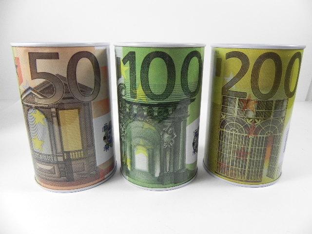 spardose 50 100 200 schein euro metall 13 cm 3 st ck ebay. Black Bedroom Furniture Sets. Home Design Ideas