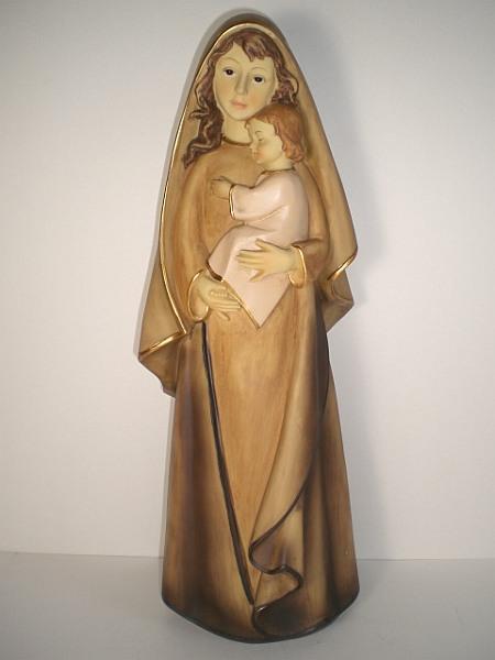 madonna maria mit kind 40 cm polyresin statue heiligenfigur gebeizt neu ebay. Black Bedroom Furniture Sets. Home Design Ideas