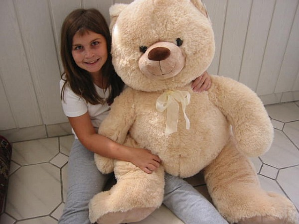 teddy teddyb r pl sch 100 cm hellbraun riesenteil ebay. Black Bedroom Furniture Sets. Home Design Ideas