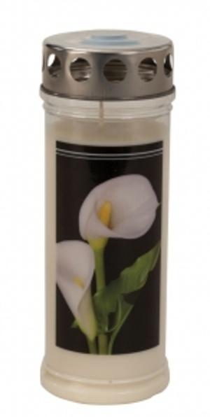 grabkerze calla blume grablicht kolicht 21 cm friedhof grave candle neu ebay. Black Bedroom Furniture Sets. Home Design Ideas