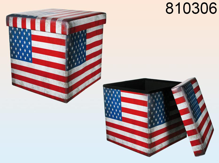 faltbarer hocker usa flagge stars stripes aufbewahrungsbox vintage look 38cm ebay. Black Bedroom Furniture Sets. Home Design Ideas