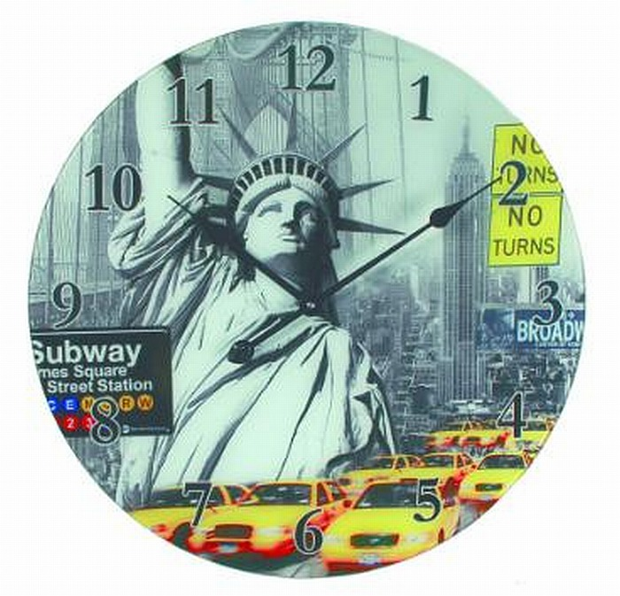 glas wanduhr new york city freiheitsstatue 58 cm wall clock hammer must see ebay. Black Bedroom Furniture Sets. Home Design Ideas