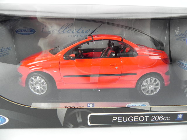 peugeot 206 cc cabrio 1 18 modellauto welly diecast. Black Bedroom Furniture Sets. Home Design Ideas