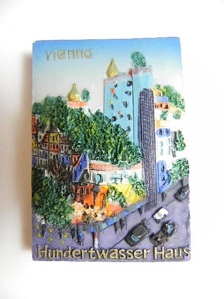 magnet wien hundertwasserhaus Österreich,souvenir relief  ~ Kühlschrank Wien