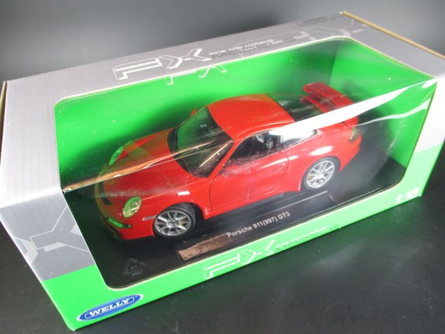 porsche 911 gt3 997 metall diecast modell 1 18 welly modellauto rot ebay. Black Bedroom Furniture Sets. Home Design Ideas