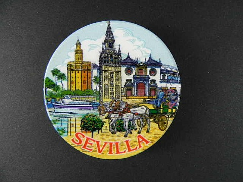 sevilla magnet spanien souvenir spain 6 cm k hlschrankmagnet aus keramik neu ebay. Black Bedroom Furniture Sets. Home Design Ideas