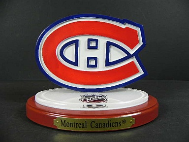 Montreal canadiens 3d team logo hockey ornament mit base - Canadiens hockey logo ...