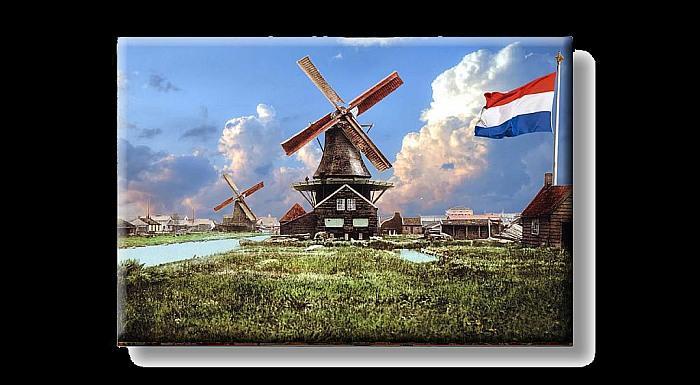 holland windm hle in dorf mit flagge foto magnet. Black Bedroom Furniture Sets. Home Design Ideas