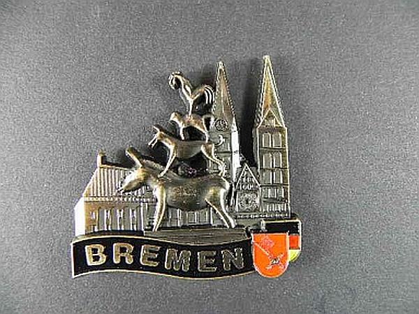 magnet metall bremen stadtmusikanten 5 cm germany souvenir deutschland bronziert ebay. Black Bedroom Furniture Sets. Home Design Ideas
