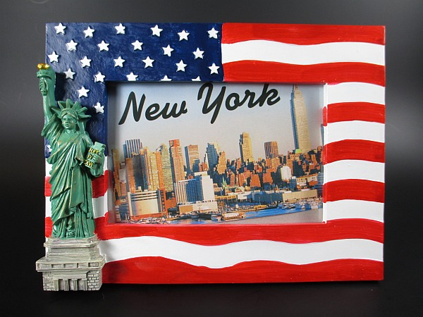 new york cadre photo statue de la libert avec usa drapeau. Black Bedroom Furniture Sets. Home Design Ideas