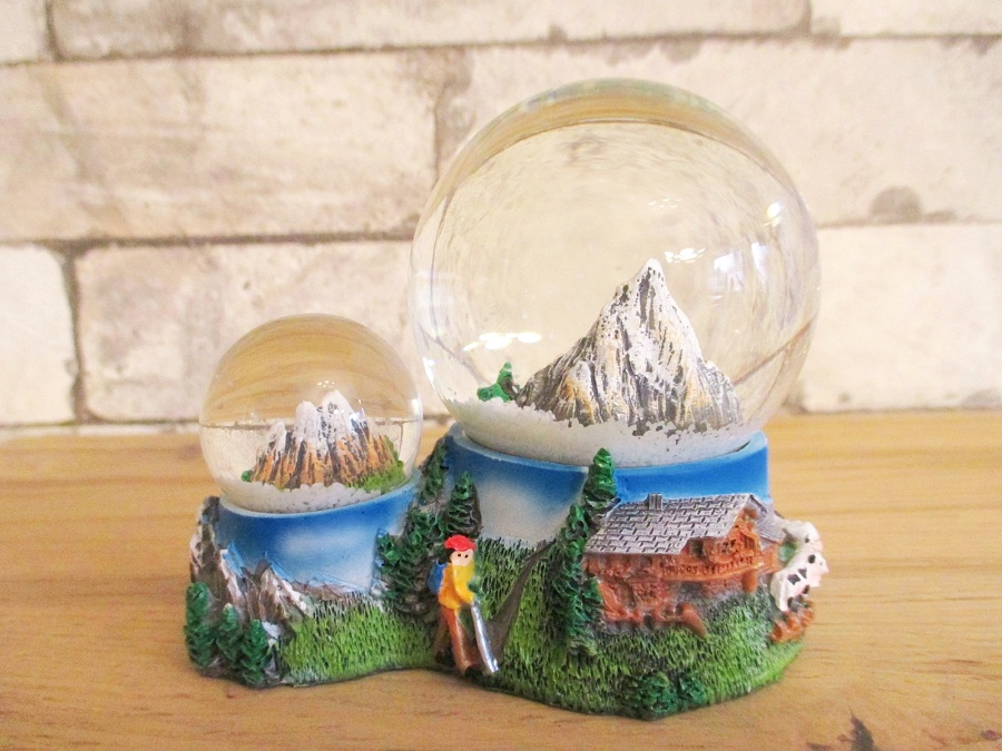 Duo Schneekugel Berge Alpen Souvenir Germany Österreich Schweiz