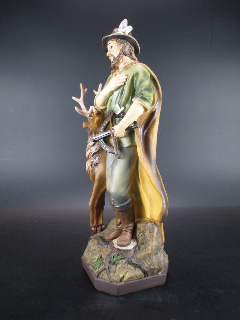 Heiliger Hubertus Schutzpatron der Jagd 38 cm  Poly Figur Statue Neu