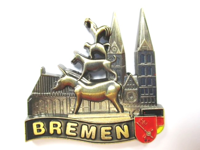 bremen stadtmusikanten magnet metall souvenir germany deutschland br ebay. Black Bedroom Furniture Sets. Home Design Ideas