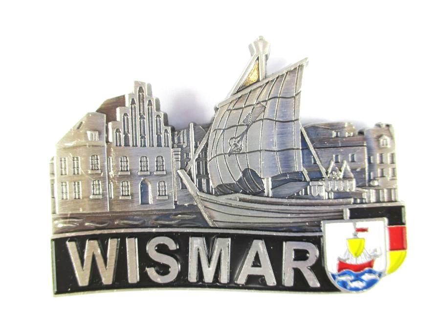 Wismar Silhouette Metall Magnet Germany Deutschland Souvenir,Neu