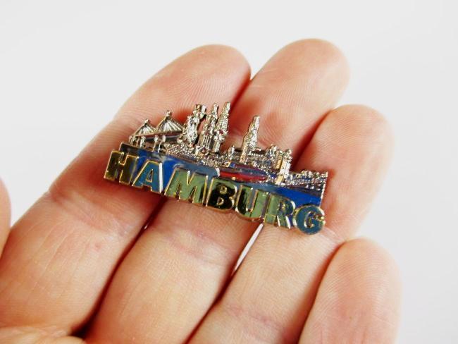 Hamburg Landungsbrücken 3D Metall  Magnet Metallic silber,Germany,hochwertig !