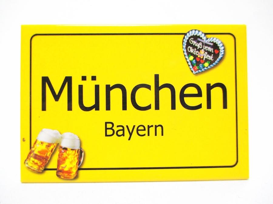 München Bayern Ortsschild Foto Magnet Germany 8 cm Reise Souvenir
