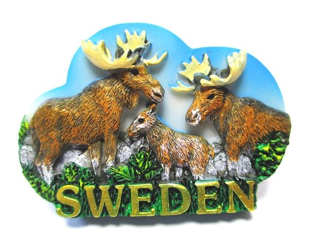 Stockholm Magnet Schweden Souvenir Poly Glitzer Elch Wikinger