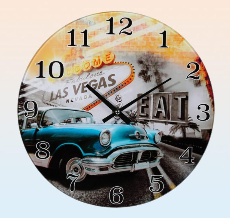 Wall Clock Glass Welcome to Las Vegas Classic Car Blue, Wall Clock ...