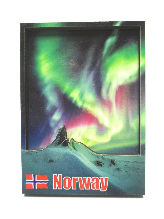 Norwegen Flagge Elch 3D Holz Souvenir Magnet Skandinavien  Norway